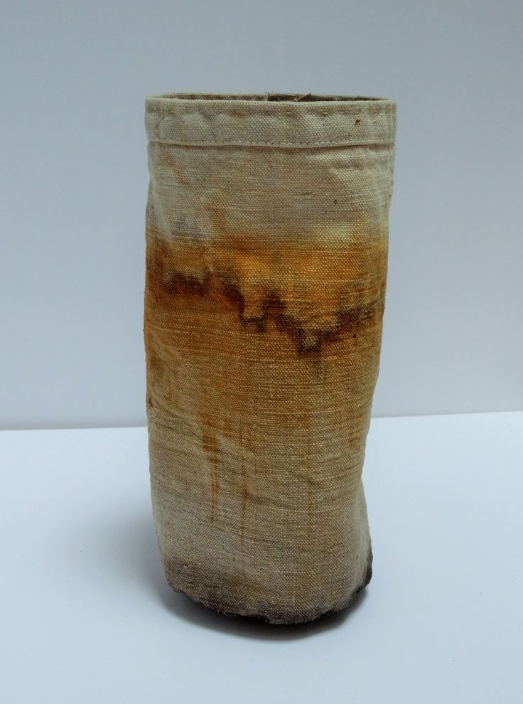 rust dyed cloth vessel...hand stitched by Jule Mallett of www.hengrels.co.uk