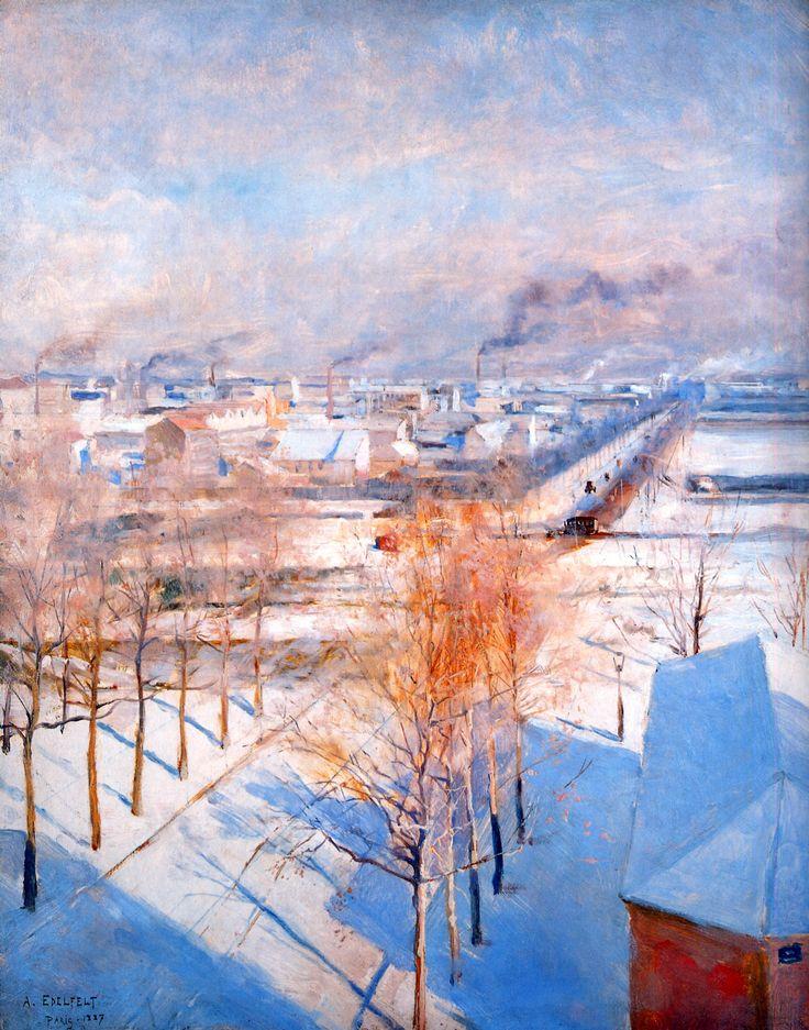 """"""" Albert Edelfelt (Finnish, 1854-1905) Paris in the Snow, 1887. Oil on panel. """" je ne reconnais pas du tout Paris !"""