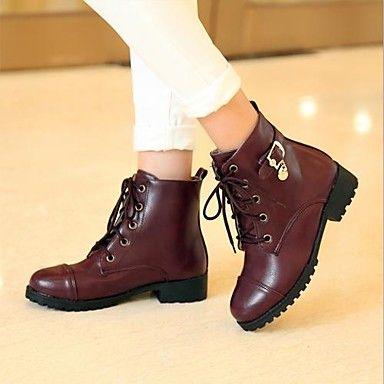 zapatos de las mujeres del dedo del pie redondo botines de tacón bajo más colores disponibles - USD $ 37.99