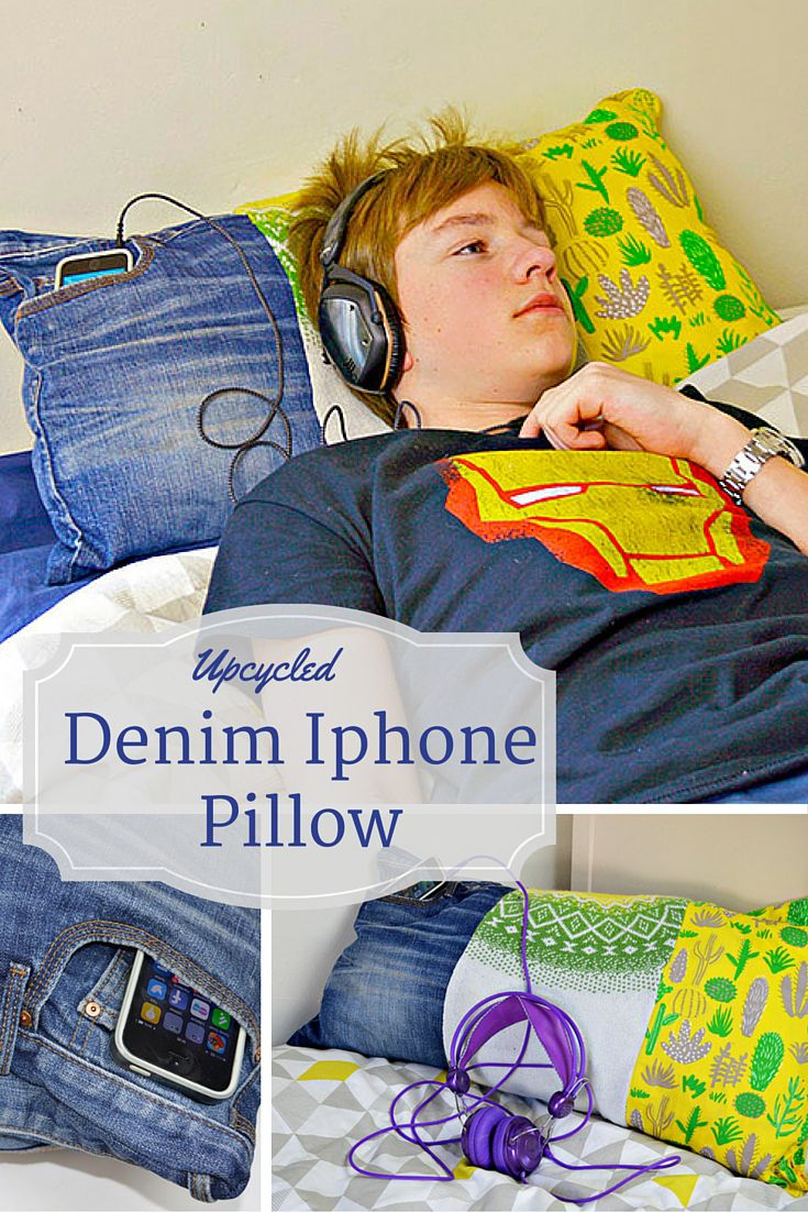 DIY denim Iphone pillow: Upcycle old jeans into this cool pillow with a pocket to keep your iphone safe whilst you listen to music. Great present for teenagers.