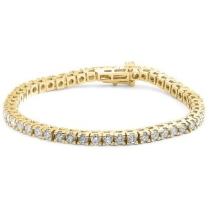 14k Yellow Gold Diamond 4-Prong Tennis Bracelet (5.00 cttw, H-I Color, I1-I2 Clarity), 7.25''