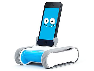 """Romo's a robot from outer space who needs your kid's help! Communicating through your iPod or iPhone, he can be trained to perform commands through """"programming missions"""" that unlock his full abilities while teaching your child the basics of computer programming!"""
