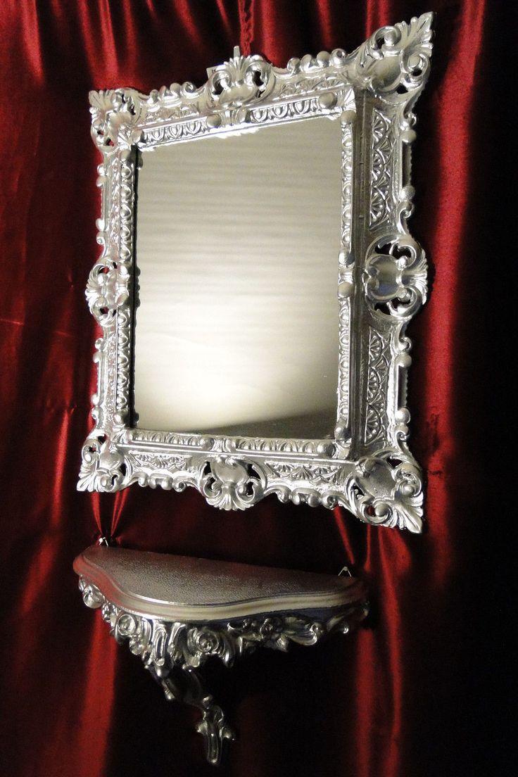details zu 2er set wandspiegel spiegel spiegelkonsole konsole silber antik barock 44x38. Black Bedroom Furniture Sets. Home Design Ideas