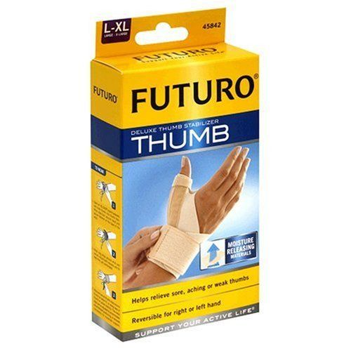 Futuro Deluxe Thumb Stabilizer-L/XL by Futuro. $11.46. Futuro offers a wide range of quality products to Support Your Active Life.. Two metal thumb stays for stability.. Futuro Thumb Stabilizer, Size Large - Extra Large, provides helps to relieve sore, aching or weak thumb.. Helps relieve sore, aching or weak thumb.. Moisture releasing materials. Helps relieve sore, aching or weak thumbs. Reversible for right or left hand. Support your active life. Helps stabilize the lower...