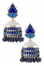 Tribebyamrapali-Silver Lotus Blue Enamel Lapis Bead Drop Jhumka