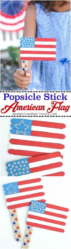 This top Pinned DIY craft for the 4th is easy and will keep kids entertained. Try the popsicle stick American flag for yourself.