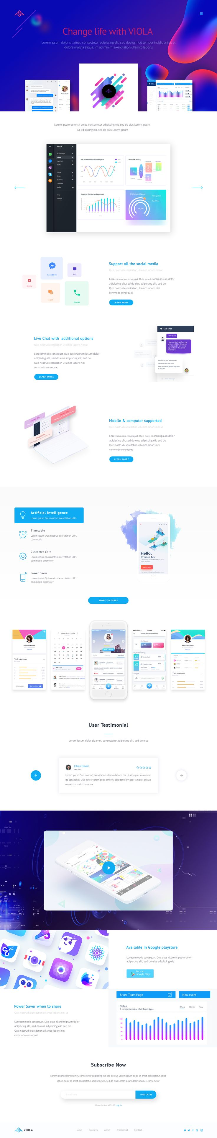 VIOLA app landing PSD Template #colorful #creative #software • Download ➝ https://themeforest.net/item/viola-app-landing-psd-template/20617469?ref=pxcr