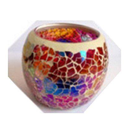 Rino キャンドル グラス モザイクガラス キャンドルカップ 5色 合計10個付き ロマンティックな夜に (ピンクステンドグラス)