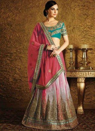 Lovely Hot Pink Kasab Zari Work Shaded Georgette Jacquard Lehenga Sarees http://www.angelnx.com/