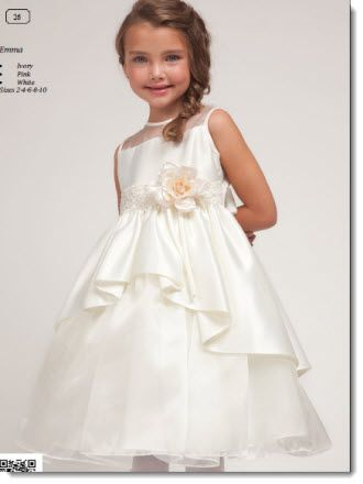 Emma - Poly satin and organza Tea length dress  Available in  Ivory, Pink and White  Suitable for First Communion or Flower Girl  Sizes 2 – 10