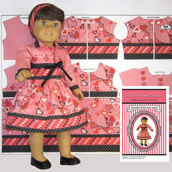 "18 inch Doll Clothes ""Hearts Dress & Jacket"" Fabric Panel Kit,  l, Just Cut and Sew, Instructions + Notions Included"