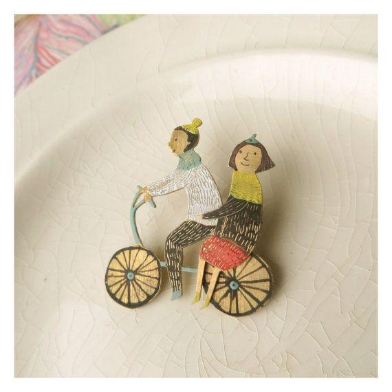 Brass brooch Love on a bike от BreadcrumbsCrafts на Etsy