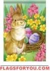 Springtime Rabbit House Flag