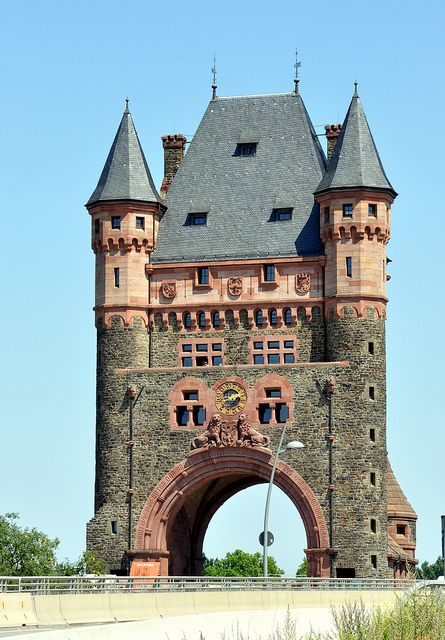 Nibelungen Tower on the Nibelungenbruecke, Worms, Germany