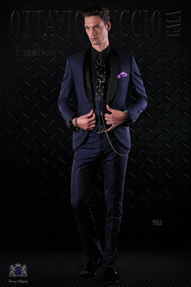 High fashion fabric houston - Bespoke Italian Fashion Tuxedo Shiny Dark Blue Fabric With Satin Shawl Collar And 1 Covered Button