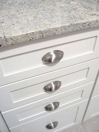 White Kitchen Cup Pulls & Kashmir White Granite