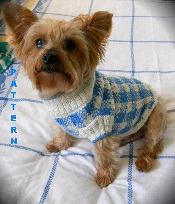SUNDAY PICNIC Gingham Check Dog Sweater Knitting Pattern ...