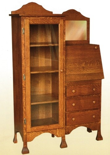Amish Solid Wood Writing Secretary Desk Office Bookcase Country Cottage Usa