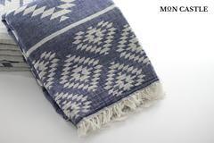 Aztec Kilim Blanket   Aztec Blanket   Navy   Double Sided   by Mon Castle