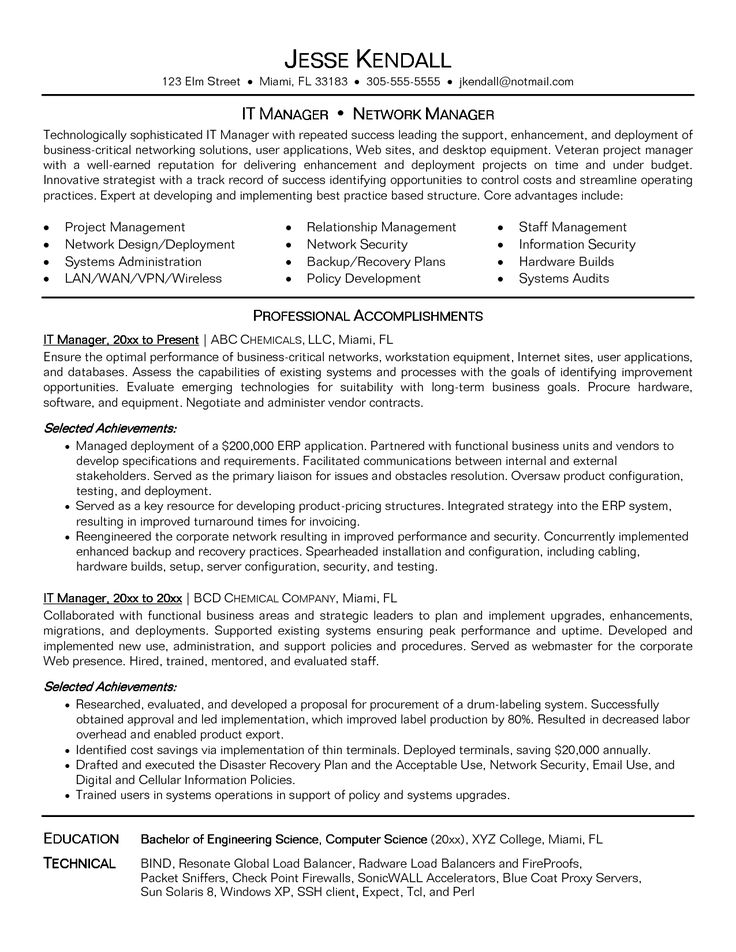 It Manager Resume objective, Manager resume, Sample resume