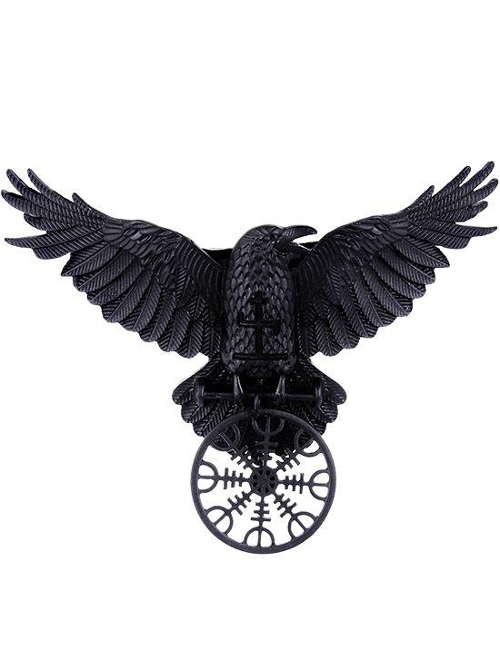 Barrette corbeau nordique noir avec symboles esoterique, gothique occulte, gothique > RESTYLE.FR - REST0007   Shop : www.restyle.fr
