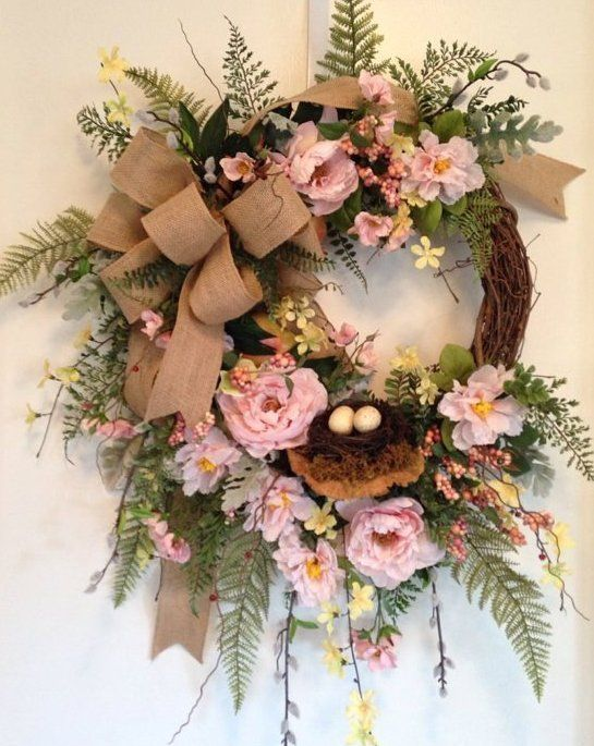"""""""BLUSHING PEONIES"""" - Vintage Chic Shabby Cottage Rustic Woodsy Spring Wreath #Handmade"""