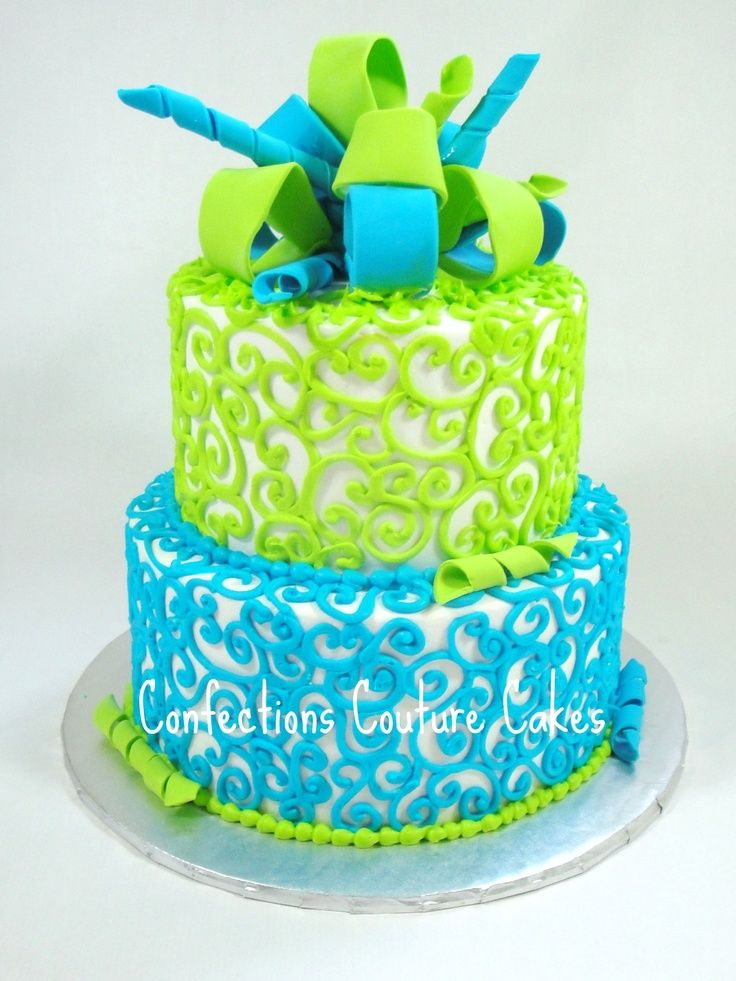 Electric Blue And Lime Green Baby Shower Cake Made By Confections Couture  Cakes:)