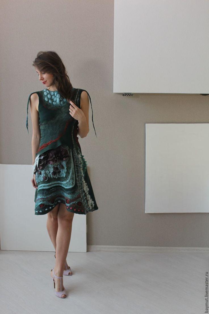 Купить Валяное платье - абстрактный, валяное платье, войлочное платье, одежда из шерсти, шелк платье