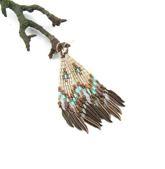 Autumn and turquoise  Long ethnic style bugle by Taurieldesign,  #beadwork, #earrings, #native