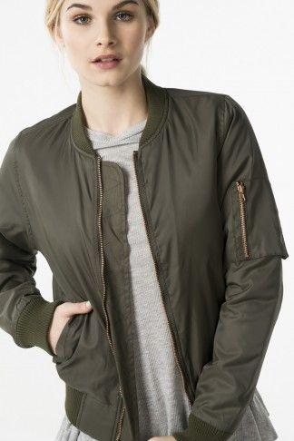 KHAKI BOMBER - Coats - Clothing