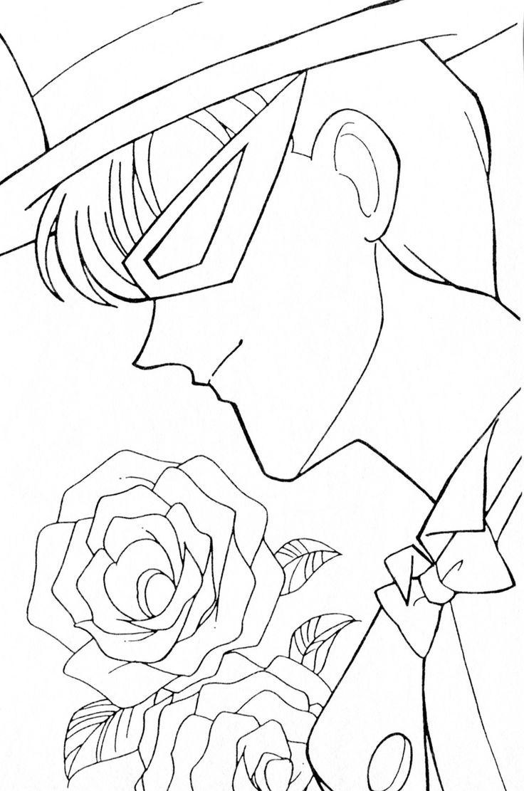 Moon coloring pages for preschoolers - Tuxedo Kamen Coloring Page