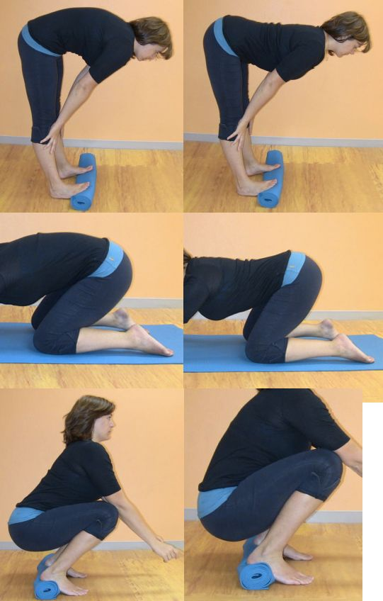 Untucking your tailbone: If your tailbone slopes down, as in the first picture, your too-tight hamstrings are preventing natural pelvic floor and glute strength from developing. Follow this step by step guide to squatting, to untuck your tailbone and reinstate the natural activity of the pelvic floor and gluteal muscle groups.