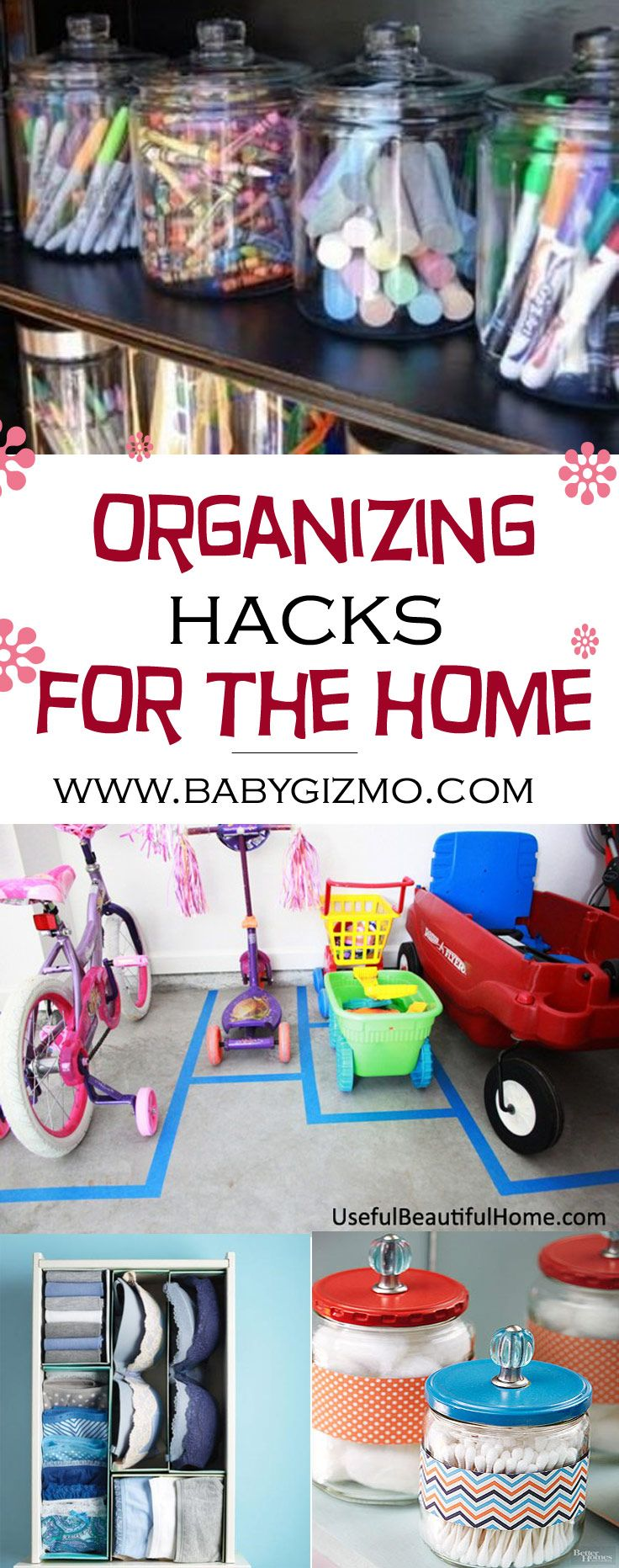These organizing hacks for the home are great! So many ideas! #organization #hacks #mom hack