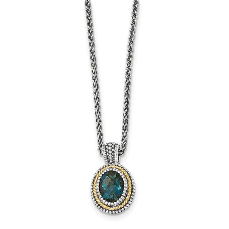 Sterling Silver w/14k London Blue Topaz Necklace QTC1361