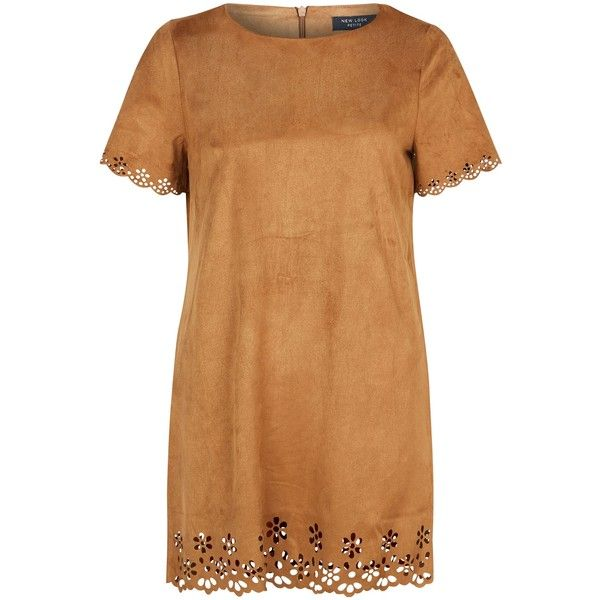 New Look Petite Tan Suedette Laser Cut Out Tunic Dress ($13) ❤ liked on Polyvore featuring dresses, short dresses, petite, tan, tan dress, cocktail party dress, mini dress, beige dress and petite short dresses