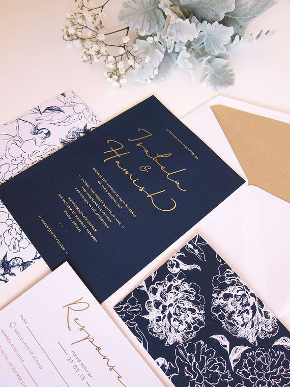 Floral Illustration, Navy And White With Gold Foil Wedding Invitation    Deposit