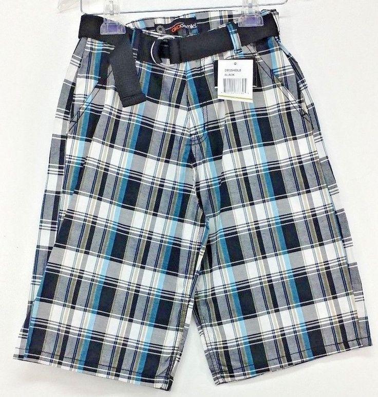 Akademiks Youth Boys Size 14 Plaid Black White Blue Tan Belt Shorts New #Akademiks