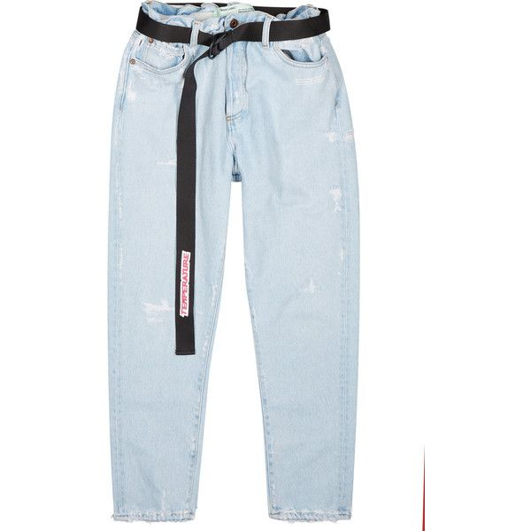 Off-white Light Blue Belted Slim-leg Jeans - Size W31 ($585) ❤ liked on Polyvore featuring men's fashion, men's clothing, men's jeans, mens stretch waist jeans, mens flap pocket jeans, mens destroyed jeans, mens torn jeans and mens slim cut jeans