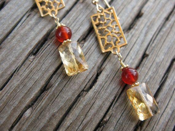 Handmade citrine earrings, handmade earrings, HANDMADE