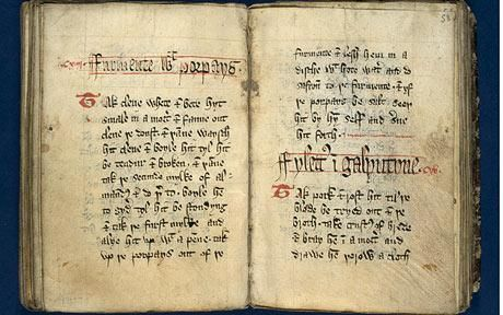 King Richard II's recipe book The Forme of Cury, (cury meaning food) written in1390. The book is being digitally photographed and put on the internet by the University of Manchester's John Rylands University Library