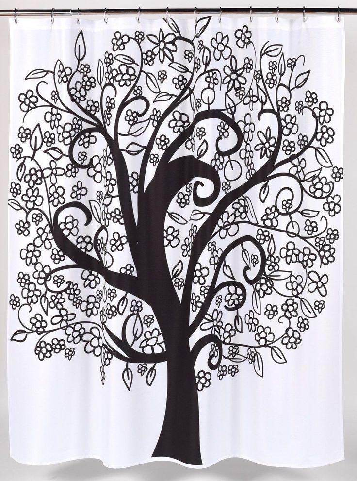 Modernized Tree of Life Fabric Shower Curtain