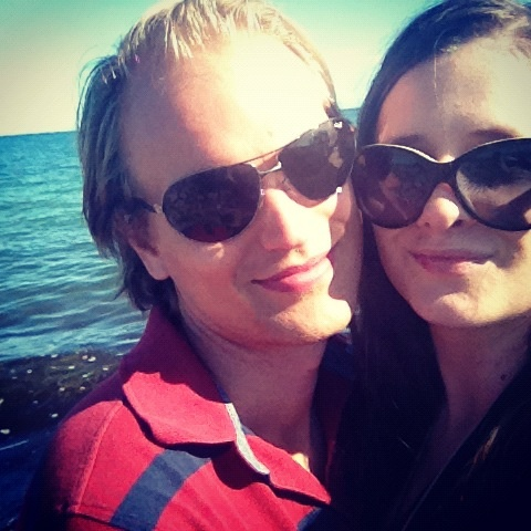 Us enjoying the afternoon sun at the beach in Korsør, Denmark