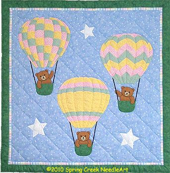These perky little bears are lifting off for adventure in colorful hot air balloons.