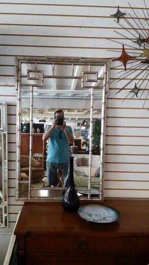 Faux bamboo silver mirror at Jasper Kane
