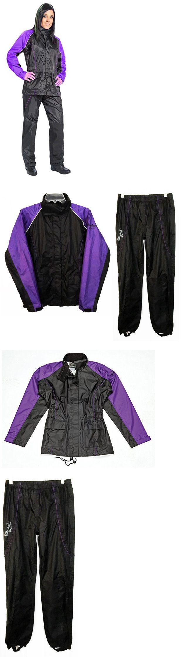Jacket and Pant Sets 177872: Joe Rocket Rs-2 Womens 2-Piece Motorcycle Rain Suit Black/Purple Sz Small BUY IT NOW ONLY: $45.52