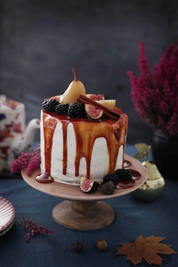 Herbsttorte mit Cheesecake-Topping und Anthropologie