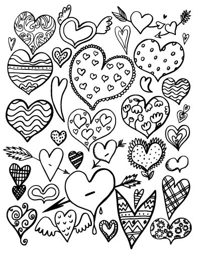 Printable heart coloring page. Free PDF download at http://coloringcafe.com/coloring-pages/heart/