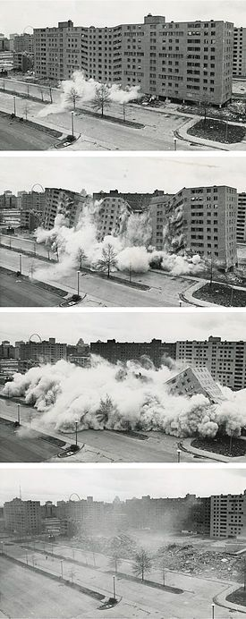 Pruitt–Igoe was a large urban housing project first occupied in 1954[2] in the U.S. city of St. Louis, Missouri. Living conditions in Pruitt–Igoe began to decline soon after its completion in 1956.[3] By the late 1960s, the complex had become internationally infamous for its poverty, crime, and segregation. Its 33 buildings were demolished with explosives in the mid-1970s,[4] and the project has become an icon of urban renewal and public-policy planning failure.