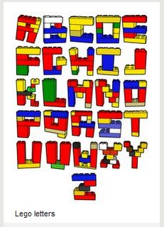 Letters made of lego