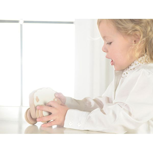 Adorable Sheep-shaped push along toy made of FSC certified European beech. A perfect toy for baby who starts to grasp, hold and push objects.